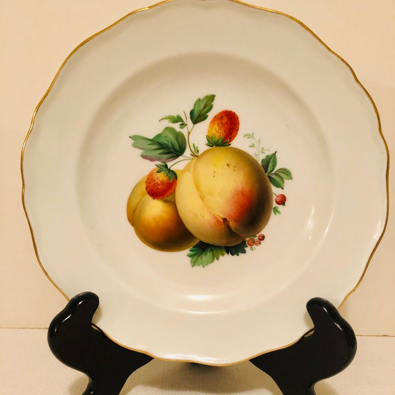 Twelve Meissen Dessert Plates, Each with Museum Quality Paintings of Fruits For Sale 6