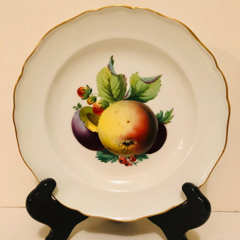 Twelve Meissen Dessert Plates, Each with Museum Quality Paintings of Fruits For Sale 8