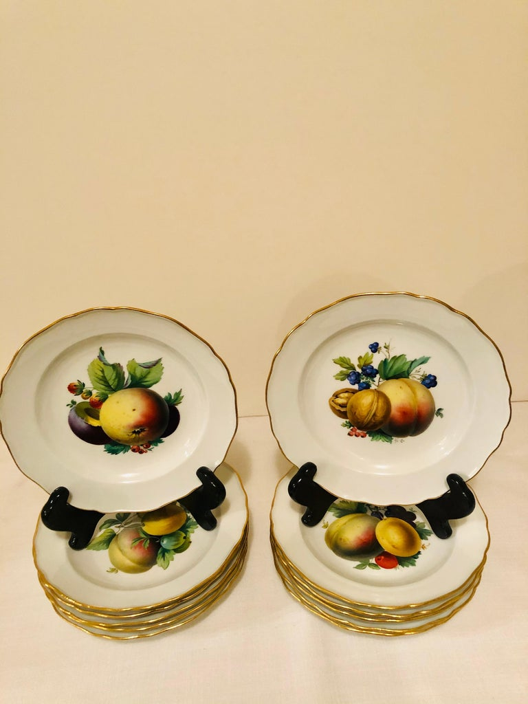 Twelve Meissen Dessert Plates, Each with Museum Quality Paintings of Fruits For Sale 11