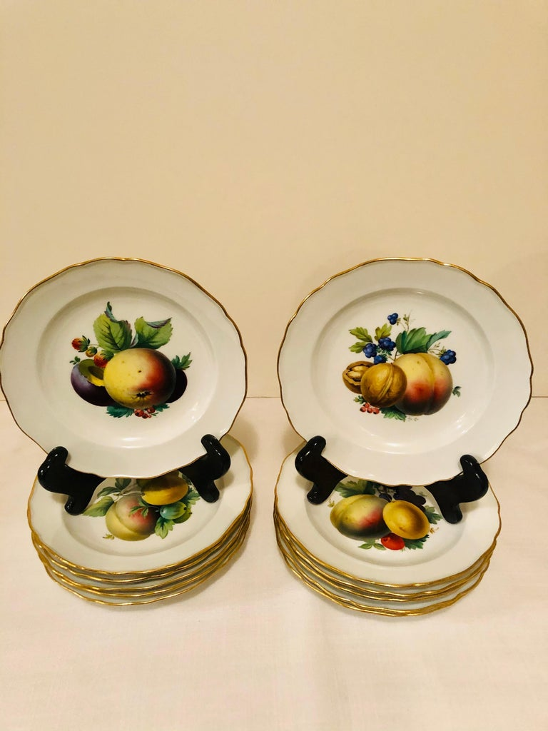 Magnificent set of twelve Meissen fruit or dessert plates with museum quality paintings of different fruits on each plate. If you scroll through the pictures, you can see the masterful artistry of the Meissen artist who painted these fruit plates.