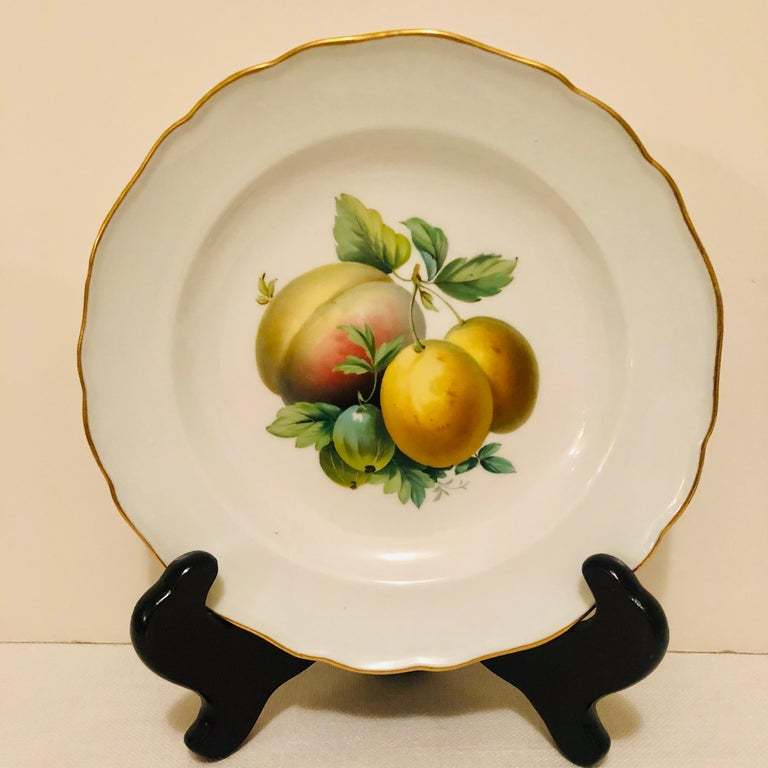 German Twelve Meissen Dessert Plates, Each with Museum Quality Paintings of Fruits For Sale