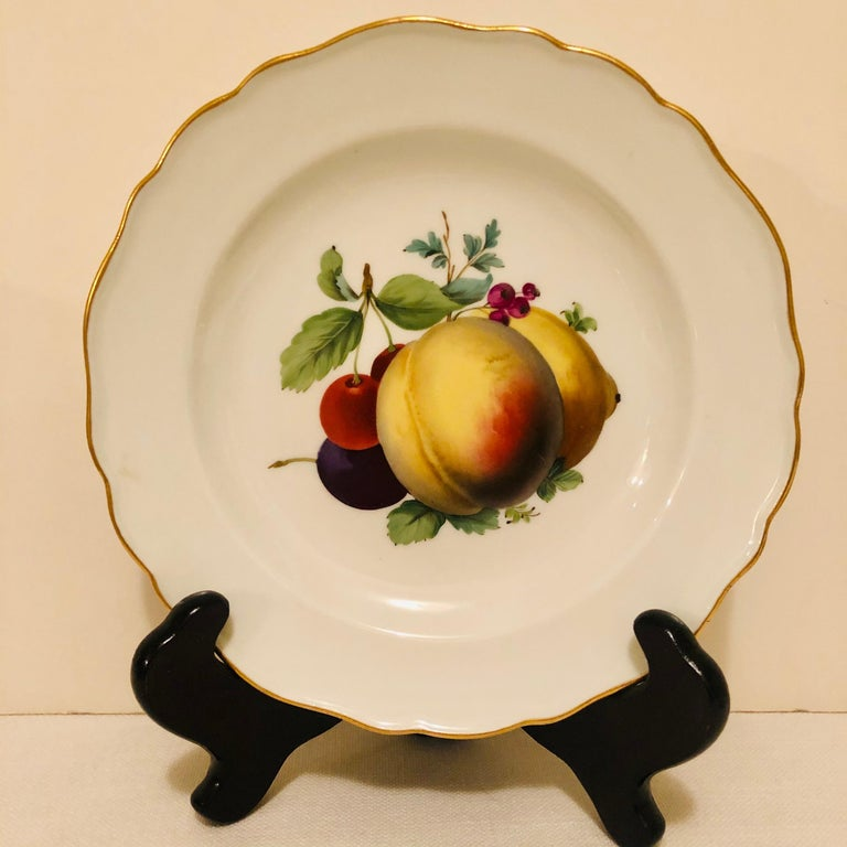 Hand-Painted Twelve Meissen Dessert Plates, Each with Museum Quality Paintings of Fruits For Sale
