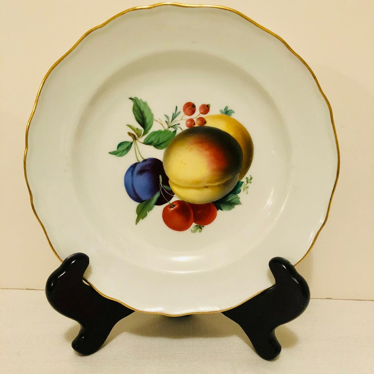 Twelve Meissen Dessert Plates, Each with Museum Quality Paintings of Fruits In Good Condition For Sale In Boston, MA