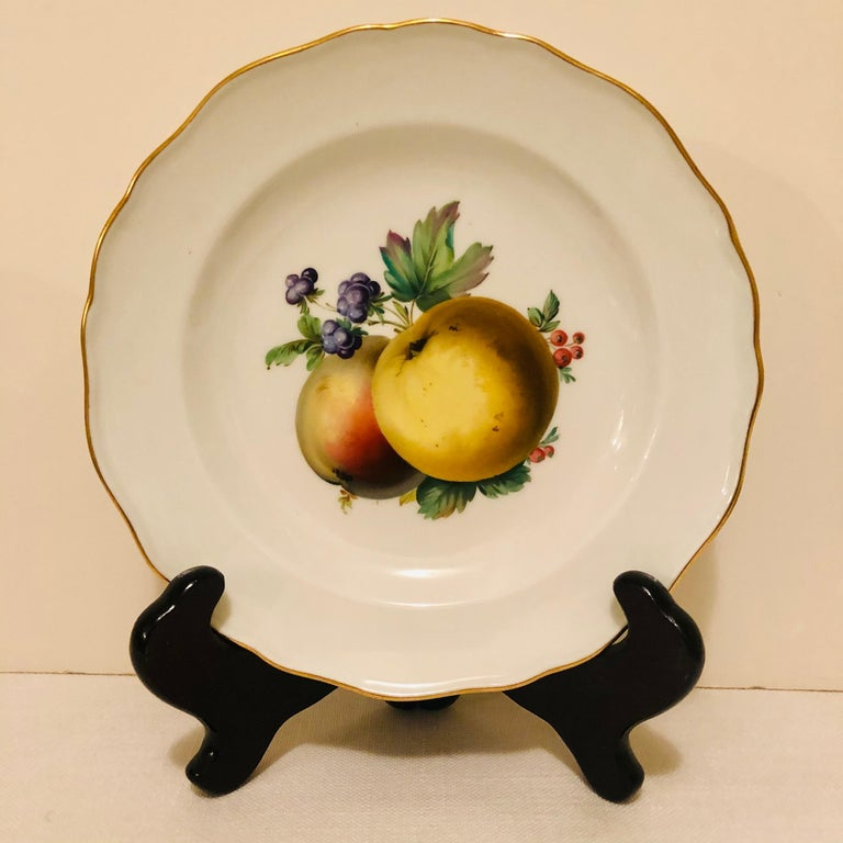 Late 19th Century Twelve Meissen Dessert Plates, Each with Museum Quality Paintings of Fruits For Sale
