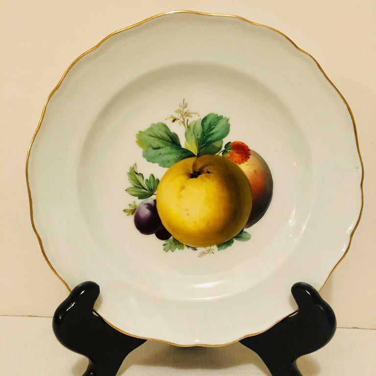 Porcelain Twelve Meissen Dessert Plates, Each with Museum Quality Paintings of Fruits For Sale