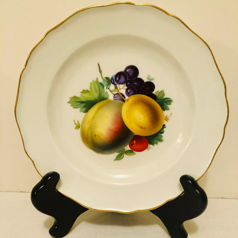 Twelve Meissen Dessert Plates, Each with Museum Quality Paintings of Fruits For Sale 1