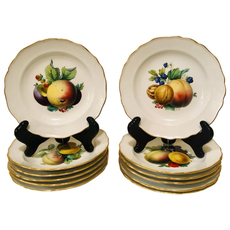 Twelve Meissen Dessert Plates, Each with Museum Quality Paintings of Fruits For Sale