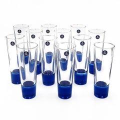 Very Rare Midcentury Sapphire Blue Royal Copenhagen Crystal Glasses