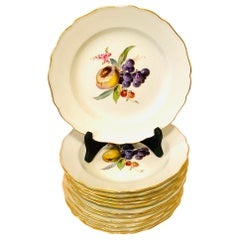 Twelve Museum Quality Meissen Dinner Plates Each Painted with Different Fruits