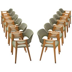 Twelve Norwegian Dining Chairs with Soft Green Upholstery