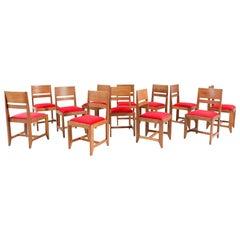 Twelve Oak Art Deco Haagse School Chairs by Henk Wouda for Pander, 1924
