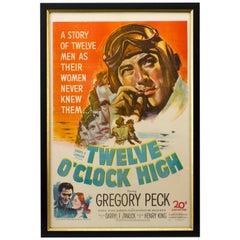 Twelve O'Clock High, Gregory Peck WW II Movie Poster, 1949