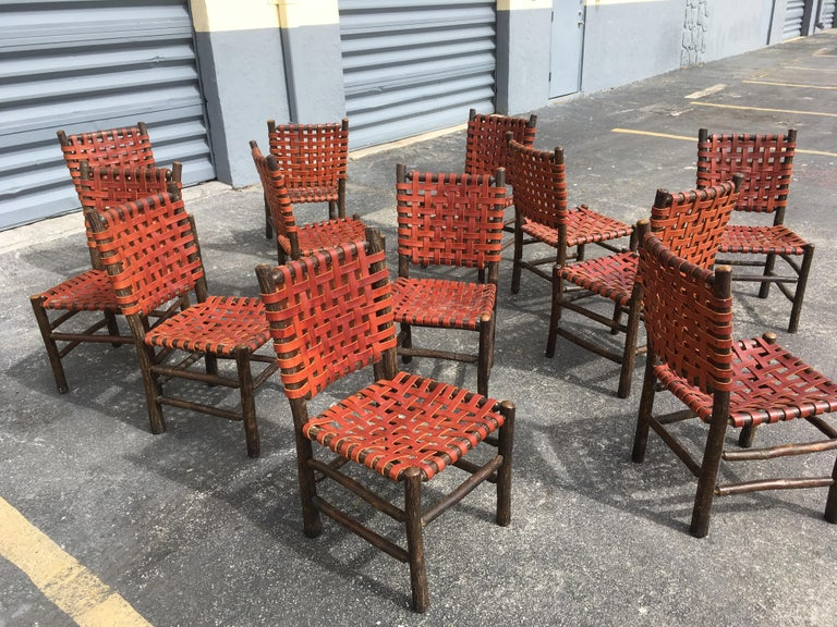 Twelve Old Hickory Dining Chairs with Woven Cognac Saddle Leather For Sale 6