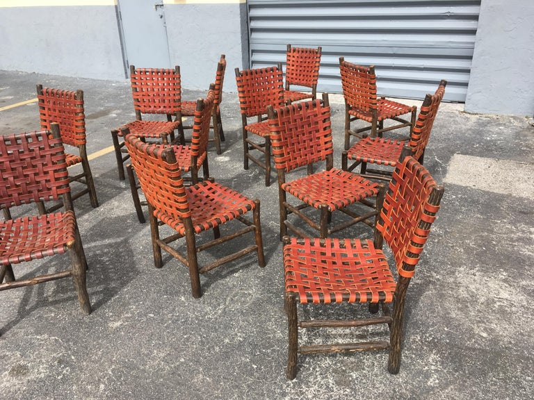 Twelve Old Hickory Dining Chairs with Woven Cognac Saddle Leather For Sale 7