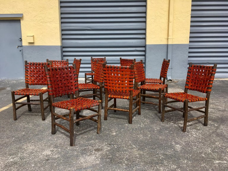 Twelve Old Hickory Dining Chairs with Woven Cognac Saddle Leather For Sale 9