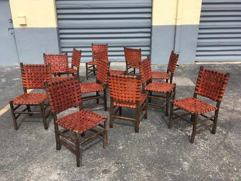 Twelve Old Hickory Dining Chairs with Woven Cognac Saddle Leather For Sale 10