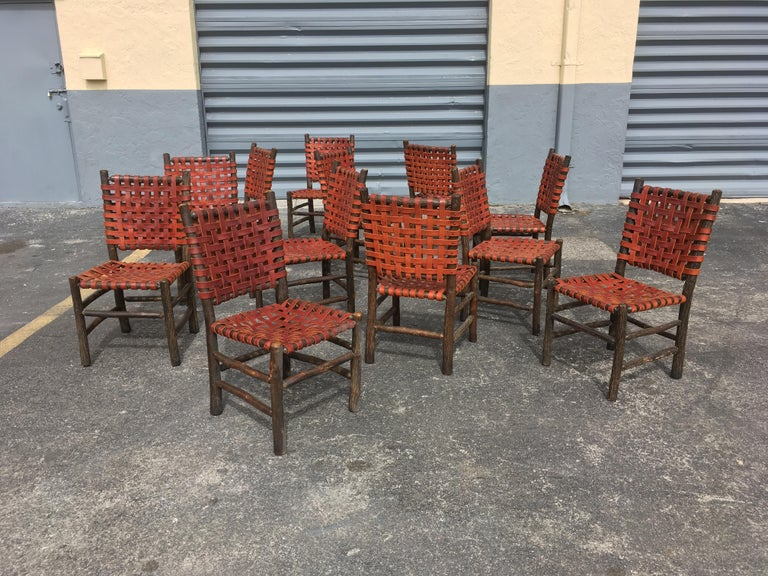 Twelve Old Hickory Dining Chairs with Woven Cognac Saddle Leather For Sale 11