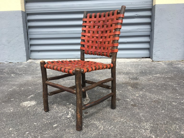 Twelve Old Hickory Dining Chairs with Woven Cognac Saddle Leather For Sale 13