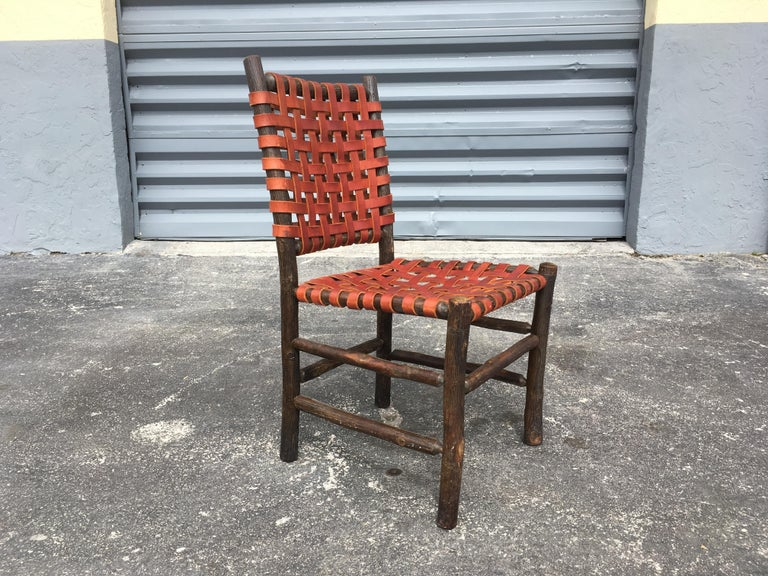 Twelve Old Hickory Dining Chairs with Woven Cognac Saddle Leather For Sale 14