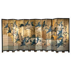 Twelve Panel Folding Screen, Birds in Flight, 20th Century