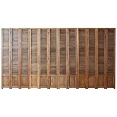 Twelve-Panel Pine Louvered Shutter Folding Screen