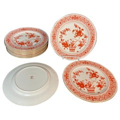 Twelve Plates by Royal Crown Derby Chandos Pattern Burnt Orange and White
