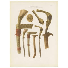 Twelve Prints of Ethnographic Items of Batavia Published by J.W. Teillers '1910'