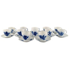 Twelve Royal Copenhagen Blue Flower Curved Espresso Cups with Saucers, 1980s