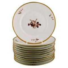 Twelve Royal Copenhagen Brown Rose Plates, 1960s