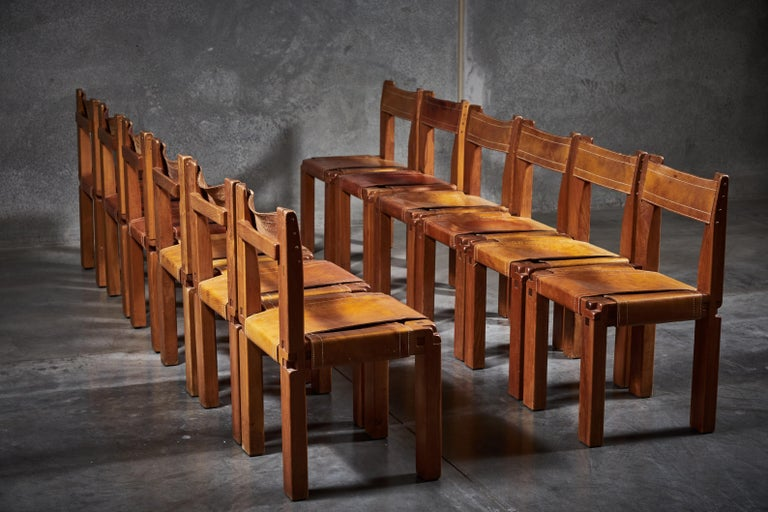 French Twelve S11 Chairs by Pierre Chapo For Sale
