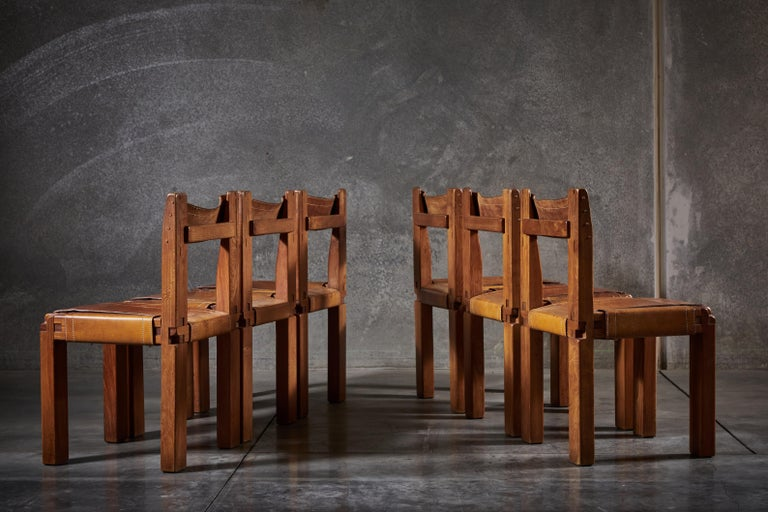 Mid-20th Century Twelve S11 Chairs by Pierre Chapo For Sale