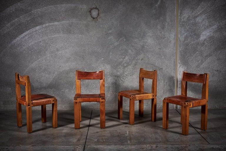 Leather Twelve S11 Chairs by Pierre Chapo For Sale