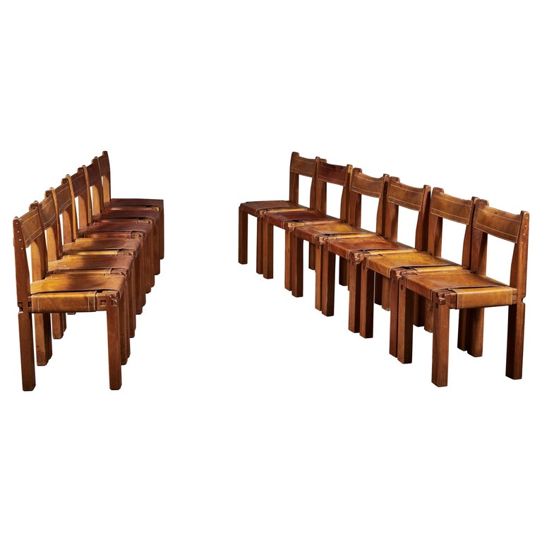 Twelve S11 Chairs by Pierre Chapo For Sale