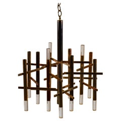 Twelve Segment Patinated Nickel and Lucite Chandelier by Gaetano Sciolari