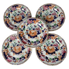 Twelve Water Lily Pattern Plates by Hicks & Meigh England Circa 1820