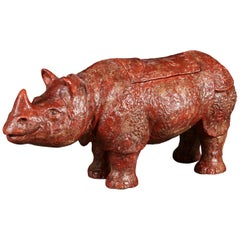 Twentieth Century Ceramic Rhinoceros Sculpture or Vessel