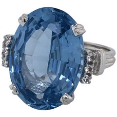 Twenty Carat London Blue Topaz White Gold Ring