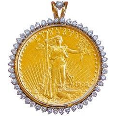 Twenty Dollar 1908 Coin Pendant with Diamond Bezel 1.60 Carat 14 Karat Gold