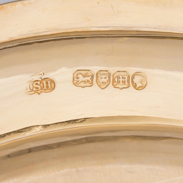 Victorian Twenty Four Silver-Gilt Plates by Hunt & Roskell. English, 1847 For Sale