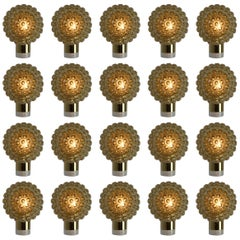 Twenty Midcentury Wall Lights Scones with Amber Glass and Brass, Italy, 1970s