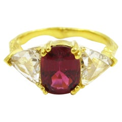 Twig Ring in Yellow Gold with a Red Tourmaline