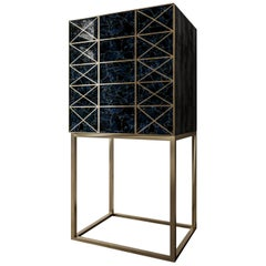 Twilight Cabinet or Dry Bar of Gemstone Coroldite and Brass, Made in Italy