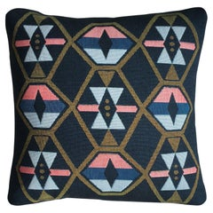 Twilight Navy Geo Upholstered Pillow with Linen Backing