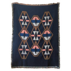 Twilight Navy Geo Woven Cotton Throw