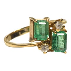 Twin Emerald and Diamond 14k Yellow Gold Bypass Ring