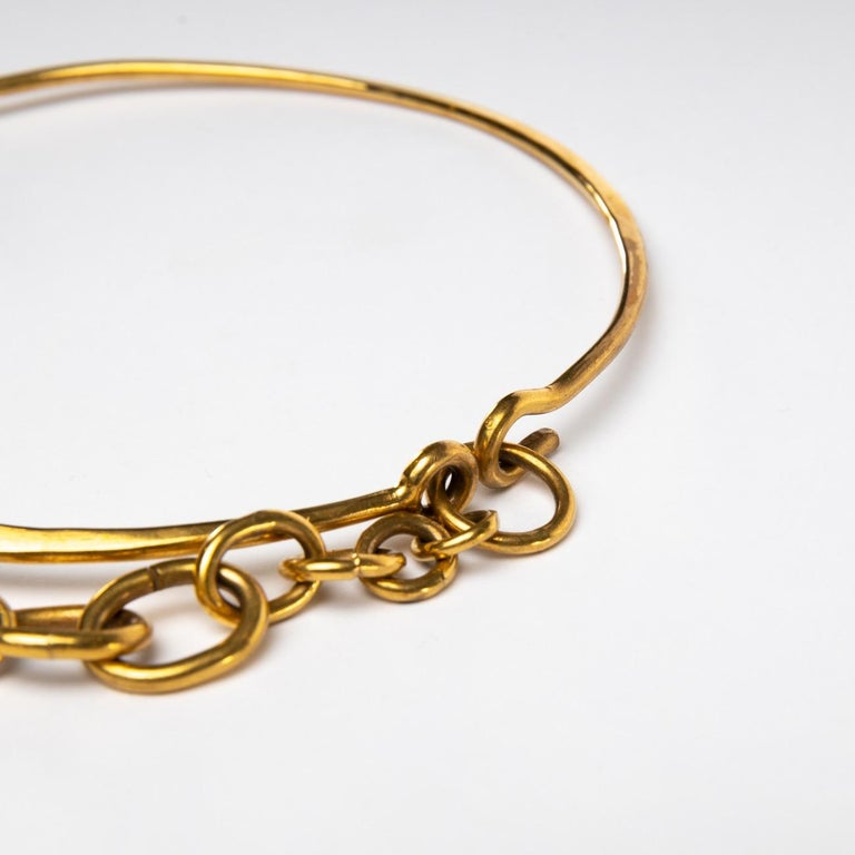 Mid-Century Modern Twin Fish, Gilded Bronze Necklace, Line Vautrin 'France' For Sale