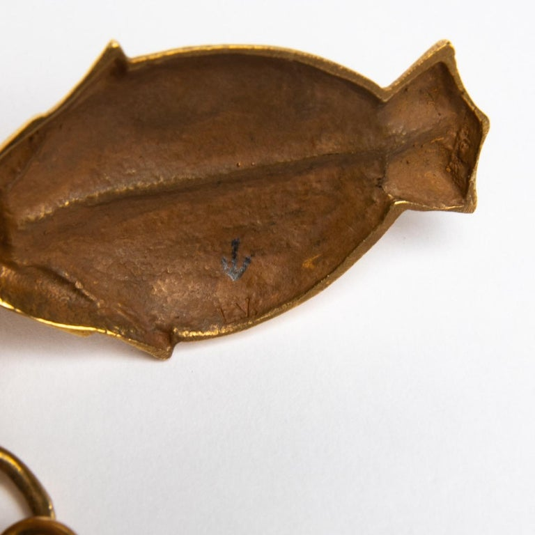20th Century Twin Fish, Gilded Bronze Necklace, Line Vautrin 'France' For Sale