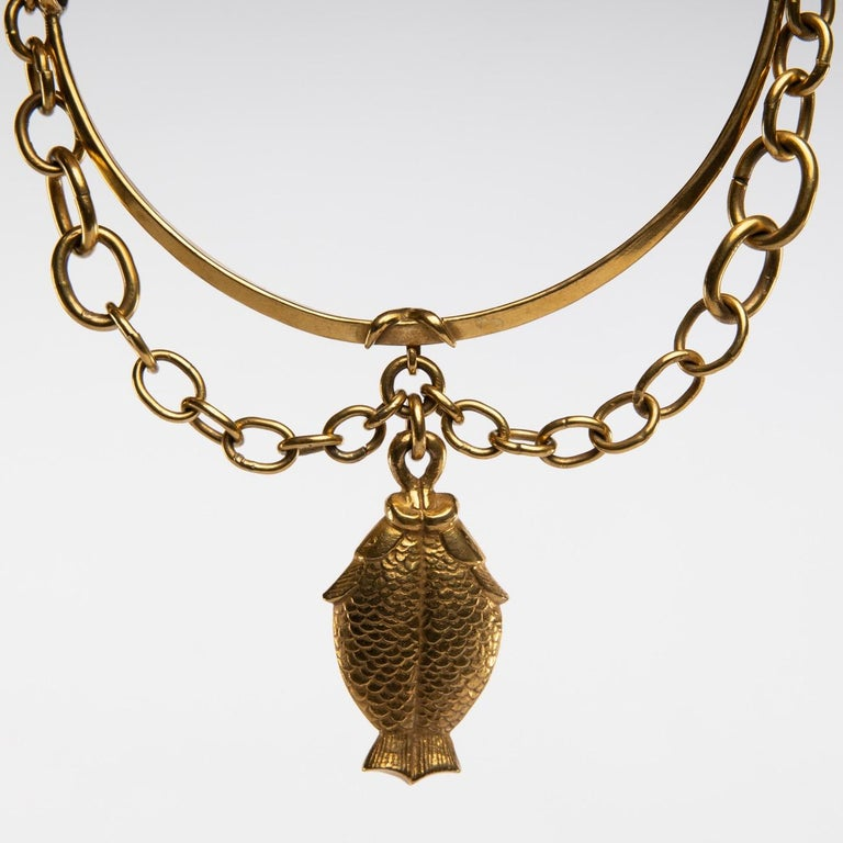 Twin Fish, Gilded Bronze Necklace, Line Vautrin 'France' For Sale 2