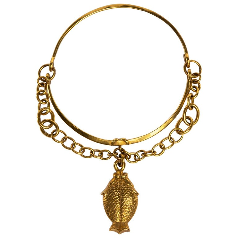 Twin Fish, Gilded Bronze Necklace, Line Vautrin 'France' For Sale