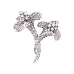 Twin Flower Diamond Gold Brooch